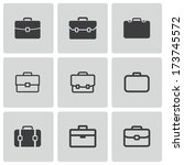 Vector black briefcase icons set on white background