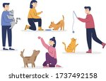 people playing with their pets... | Shutterstock .eps vector #1737492158