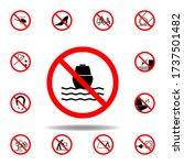 forbidden ship icon on white...
