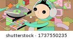 child learning to dj with retro ... | Shutterstock .eps vector #1737550235