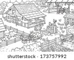 farm family with background. | Shutterstock .eps vector #173757992