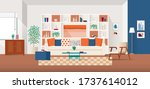 warm and cozy home interior... | Shutterstock .eps vector #1737614012
