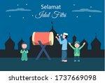 eid mubarak night or selamat...   Shutterstock .eps vector #1737669098