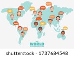 group of happy smiling kids... | Shutterstock .eps vector #1737684548