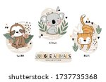 wild animals tiger koala sloth... | Shutterstock .eps vector #1737735368
