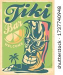 cool tiki mask mascot with... | Shutterstock .eps vector #1737740948