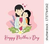 mother and daughter flat vector  | Shutterstock .eps vector #1737764162