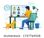 video conference concept  man... | Shutterstock .eps vector #1737764528