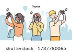 people are holding cameras and... | Shutterstock .eps vector #1737780065