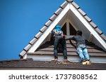 asian workers reparing house... | Shutterstock . vector #1737808562