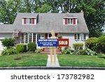 sold real estate sign held... | Shutterstock . vector #173782982