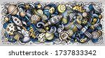 space hand drawn cartoon... | Shutterstock .eps vector #1737833342