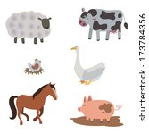 farm animals and birds | Shutterstock .eps vector #173784356