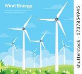 wind turbine on green field...   Shutterstock .eps vector #1737854945