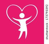 beautiful woman over pink... | Shutterstock .eps vector #173793392