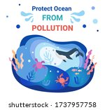 poster to protect the ocean... | Shutterstock .eps vector #1737957758