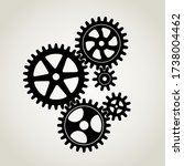 Mechanical gears & cogwheel set, large and small sprockets 5 pieces, Black Silhouette. Vector illustration. - stock vector