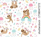 childish seamless pattern with... | Shutterstock .eps vector #1738047272