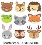 set of cute woodland animals... | Shutterstock .eps vector #1738059188