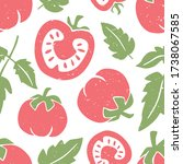 cute tomato seamless pattern.... | Shutterstock .eps vector #1738067585