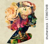 Art Colorful Floral Silhouette...