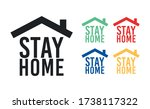 stay home icon. prevention... | Shutterstock .eps vector #1738117322