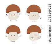 cute happy mushroom character... | Shutterstock .eps vector #1738149218