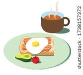 wholesome breakfast toast... | Shutterstock .eps vector #1738157372