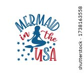 mermaid in the usa   happy... | Shutterstock .eps vector #1738163558