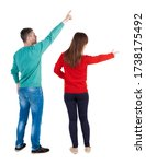 back view of couple in sweater... | Shutterstock . vector #1738175492
