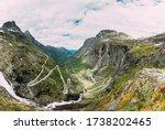 Trollstigen, Andalsnes, Norway. Serpentine Mountain Road Trollstigen. Famous Norwegian Landmark And Popular Destination. Norwegian County Road 63 In Summer Day. - stock photo