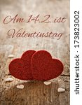 valentines day card with german text am 14 ist Valentinstag - stock photo
