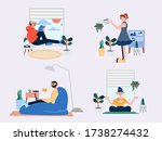stay at home and work from home ... | Shutterstock .eps vector #1738274432