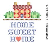 Embroidery, Home Sweet Home Cross Stitch. Retro sewing needlecraft design, home with a big red heart, needlework house in landscape graphic, isolated on white background. EPS8 compatible. - stock vector