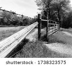 Wooden Fence And Gate In Black...