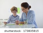 child in speech therapy | Shutterstock . vector #173835815
