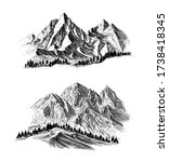 mountain with pine trees and... | Shutterstock .eps vector #1738418345