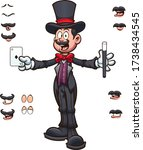 cartoon stage magician with... | Shutterstock .eps vector #1738434545