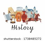 history icon. a set of subjects ... | Shutterstock .eps vector #1738485272