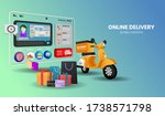 online shopping with motorcycle ... | Shutterstock .eps vector #1738571798