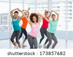 cheerful fitness class and... | Shutterstock . vector #173857682