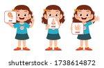 happy cute kid girl body part... | Shutterstock .eps vector #1738614872
