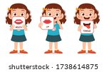 happy cute kid girl body part... | Shutterstock .eps vector #1738614875