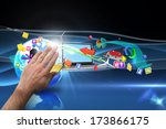 hand presenting against shiny... | Shutterstock . vector #173866175