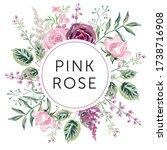 bouquet of pink rose flowers ...   Shutterstock .eps vector #1738716908