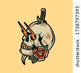 old school skull tattoo vector... | Shutterstock .eps vector #1738797395