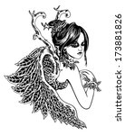 beauty angel. black and white... | Shutterstock .eps vector #173881826