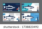 vector salmon horizontal labels.... | Shutterstock .eps vector #1738823492