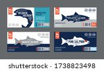 vector salmon horizontal labels....   Shutterstock .eps vector #1738823498