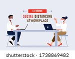 social distancing at office... | Shutterstock .eps vector #1738869482